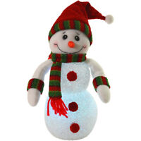 22cm Light Up Battery EVA Snowman Red / Green Hat & Scarf Festive Decoration New
