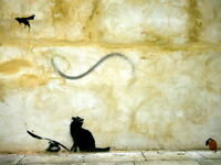 Cat Mouse Banksy Graffiti Street Art Wall Print POSTER UK