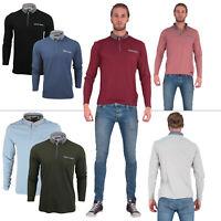 Mens Long Sleeved Bravesoul Button Collar Check Polo T-Shirt Size S M L XL XXL