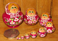 Russian Nesting Doll House 10 PURPLE Hand Painted MINIATURE MATRYOSHKA ULYANOVA