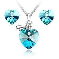 Heart Crystal CZ  Pendant Necklace Chain and Earrings Jewellery Set 6 COLOURS