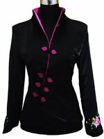Black Embroidery Pink Peony Women's Jacket Coat Evening Party Dress8-10-12-14-16
