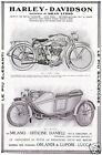PUBBLICITA' 1916 MOTO HARLEY DAVIDSON 7-9 HP SIDECAR ESERCITO ORLANDI MOTORCYCLE