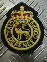 Genuine British Civil Defence Corp Queens Crown Badges / Patches x 2