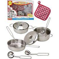 Girls Pretend Play Cooking Cookware Pot Fry Pan Utensils Kit Set Toy Kids NEW