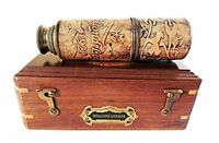16 Inch Brass Ship Telescope Leather Carving Bounded with Rose Wood Box C-3102