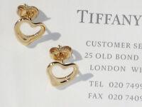 Tiffany & Co 18Ct 18K Gold Elsa Peretti Open Heart Earrings