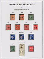 TIMBRES FRANCE FRANCHISE  COLLECTION du n°1 au n°12 NEUF** COTE 940€ SUPERBE