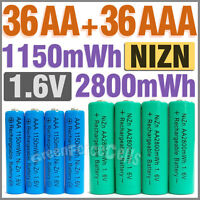 36 AA+36 AAA 1150 2800 mWh 1.6V Volt NIZN Rechargeable Battery 2A 3A Green Blue