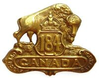WW1 184TH CANADIAN OVERSEAS BATTALION BADGE BRASS