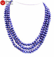 3 Strands High luster Dark Blue 9mm FW Pearl necklace