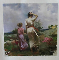 """PINO """"Tuscan Stroll"""" Embellished Hand SIGND/# Giclee on Canvas pcoa ed. 95 beach"""