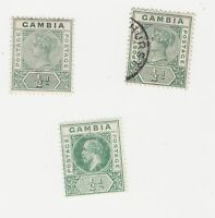 Gambia 1898-1902 defins 1/2d mint and used, and 1912 series 1/2d (SG87b) mint.