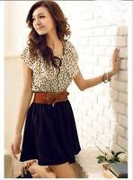 Korean style Women Chiffon Short Sleeve Dots Polka Waist Mini Belt Dress