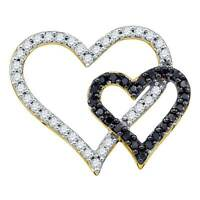 10k Yellow Gold Womens Round Diamond Infinity Pendant Necklace 1/20 Ctw