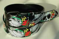 GOTH PUNK SKULL FOIL PRINTED LEATHER SNAP-ON BELT XL 40
