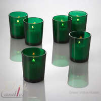 Set of 12 Green Glass Votive Candle Holders