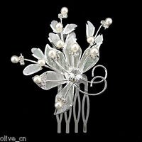 7x6cm White Flower Wedding Party Prom Pearl Crystal Hair comb