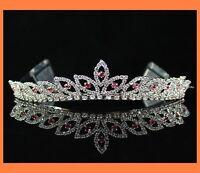 BRIDAL PINK RHINESTONE CRYSTAL TIARA CROWN HAIR COMB WEDDING JEWELRY PARTY H303P