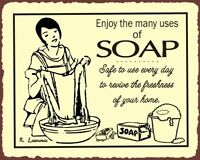 Enjoy the Many Uses of Soap Vintage Metal Art Sign Laundry Room Dry Cleaning