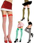 Horizontal Stripe Thigh High Stockings Red White Black Yellow Green One Size