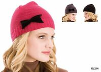Fashionable Ladies Knitted Beanie Winter Hat with Bow - Black