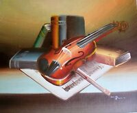 STILL LIFE MUSIC ART ORIGINAL OIL PAINTING SALE GIFT NR