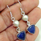 10 cts Genuine Sapphire Trillion & Pearl 925 Sterling Silver Earrings 1 5/8