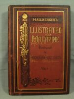 HALLBERGER'S ILLUSTRATED MAGAZINE BOUND ANTIQUE OLD BOOKS 1875 1876 1877 1878