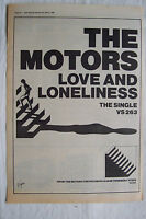 1980 - THE MOTORS - Love And Loneliness   - Press Advertisment - Poster Size