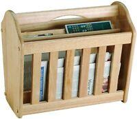 Wood Magazine News Paper Pen Pencil Remote Stand Rack Holder Tidy Shelf Storage