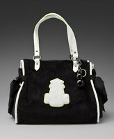 NEW JUICY COUTURE CRISP COOL BLACK VELOUR LARGE MS DAYDREAMER BAG W GEMS CHARM