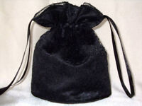 BNWOT Black duchess satin and lace dolly bag