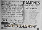 RAMONES W. TALKING HEADS - LEAVE HOME UK TOUR '77, UK AD 1977/ADVERT