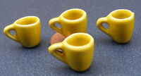 1;12 Scale 4 Yellow Coffee Mugs Dolls House Miniature Ceramic Accessory Tapered