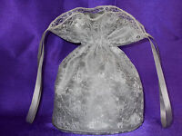 BNWOT Light grey/silver duchess satin and ivory lace dolly bag