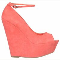 LADIES CORAL PINK PEEP TOE HIGH WEDGE HEELS SHOE SANDAL EVENING PARTY 3-8