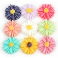 24pcs Resin Chrysanthemum Flower Flat Back Cabochons 13x4mm Choose your colours