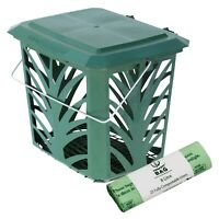 Vented Compost Caddy & 25x 8L Biobags - Green - Food Waste Recycling (7 Litre)