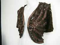 SPARKLY LACY LACE BROWN SHRUG JACKET BRAND NEW, SIZE 12 14 16 18 20 22