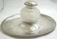 Beautiful Antique Solid Silver & Cut Glass Inkwell & Inkstand Hallmarked 1876
