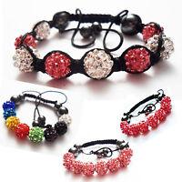 Children's Kids Shamballa Bracelet Crystal Shiny Disco Ball Handmade Gift Child