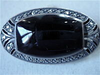 BROCHE ONYX ARGENT MARCASSITE ART DECO VINTAGE  NEUVE/OLD NEW SILVER BROCH