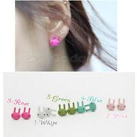 Hot Lovely Cute Sweet Cutie Black Eyes Bunny Rabbit Ear Stud Earring Earrings
