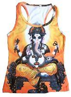 GANESHA GANESH Hindu Tattoo Statue Goa Party DJane Designer TANK TOP SHIRT S/M