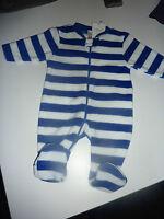 NEXT Gorgeous Little Blue and White Stripe Fleece Sleepsuit NWT