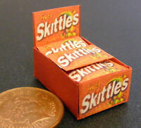 A Display Box Of Fruit Skittles Packets Dolls House Miniature Sweets Accessory