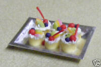 1:12 Scale 6 Cakes With Mixed Fruit On A Tray Dolls House Miniature Accessory
