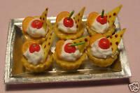 6 Cherry & Orange Slice Cakes Dolls House Miniature A