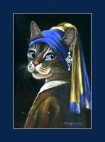 Cat ACEO Print Girl With Pearl Earring By I Garmashova